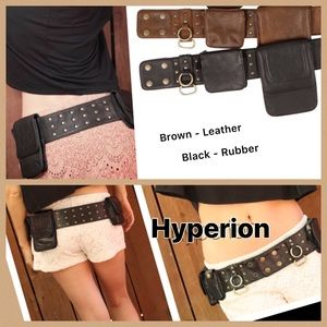 "UNISEX ""Hyperion"" Utility Belts - Leather & Rubber"
